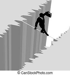 rischio, affari, pericolo, sopra, goccia, fune, camminare, uomo, scogliera
