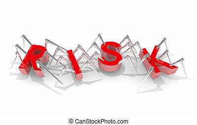 rischio, pericolo, errori del software, illustrazione, avvertimento, sicurezza, ragni, sicurezza, 3d
