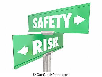 rischio, protezione, pericolo, ridurre, illustrazione, vs, sicurezza, segni, sicurezza, 3d