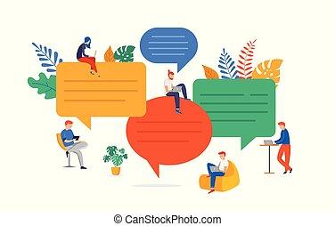 risolvere, appartamento, ricerca, gruppo, persone, comunicazione, brainstorming., giovane, illustrazione, ciarlare, idee, vettore, problema, stile