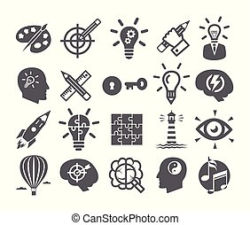 risolvere, set, potere, icone, mente, creatività, immaginazione, idea, cervello, problema, ispirazione