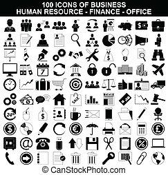 risorsa, set, finanza, icone ufficio, affari, umano