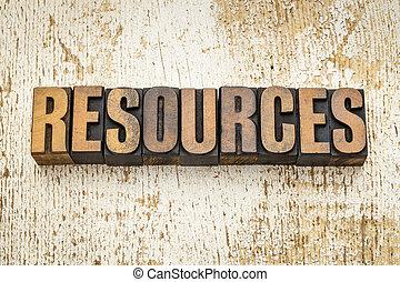 risorse, tipo, legno, parola