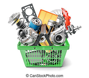 risparmia, mercato, parti macchina, cesto