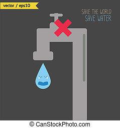 risparmiare, concetto, world., water.