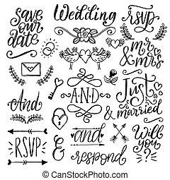 risparmiare, decorazioni, testo, date., overlays, matrimonio, carino, catchwords., vettore, inviti, collezione, scritto mano