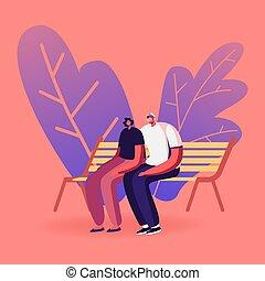 risparmiare, fuori, amore, amare, leisure., park., coppia, caratteri, seduta, uomo, relazioni, persone, panca, giovane, vettore, feelings., donna, cartone animato, scegliere, tempo, estate, città, illustrazione, romantico