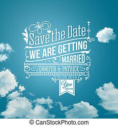 risparmiare, holiday., image., matrimonio, invitation., vettore, personale, data