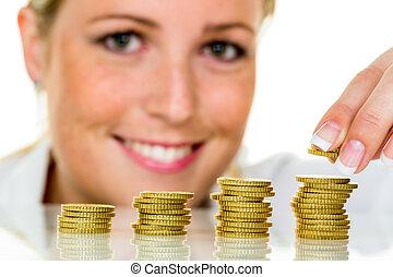 risparmiare, monete, donna, pila, soldi