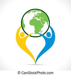 risparmiare, o, terra, icona, andare, verde, disegno