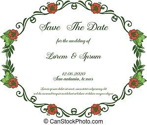 risparmiare, spazio, rosso, frame., data, testo, pianta, vettore, fiore