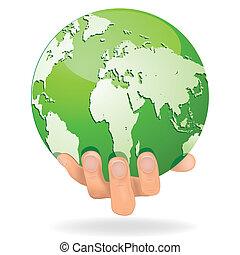 risparmiare, terra, conceptual., ve, mani