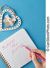 risparmiare, womans, mano, quaderno, data, frase, scrittura