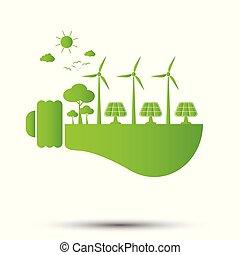 risparmio, illustrazione, concetto, ecologia, mondo, bulbo, luce, vettore, verde, energia