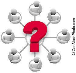 risposta, domanda, brainstorming, gruppo