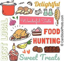 ristorante, cibo, scarabocchiare, bevanda, vario, motivi dello sfondo, stile
