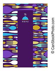 ristorante, menu, disegno, cibo, viola