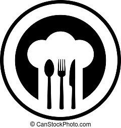 ristorante, nero, segno
