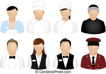 ristorante, persone, icone