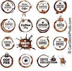 ristorante, sagoma, anelli, badges., o, tazza, logotipo, sporco, caffè, cerchi, tè, etichette
