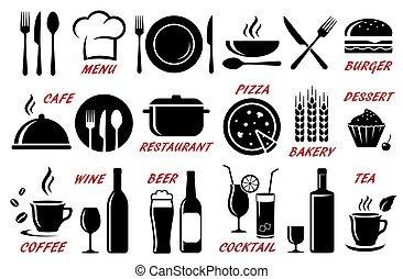 ristorante, silhouette, set, caffè, icone
