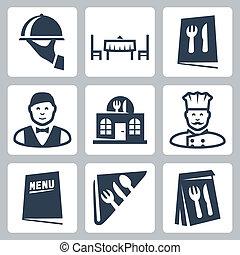 ristorante, vettore, set, isolato, icone