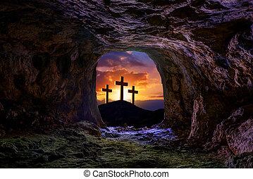 risurrezione, sepolcro, croce, tomba, gesù
