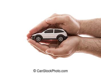 ritaglio, automobile, isolato, protection., fondo, mani, piccolo, coperto, bianco, percorso