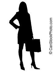 ritaglio, donna, silhouette, cartella, affari, percorso