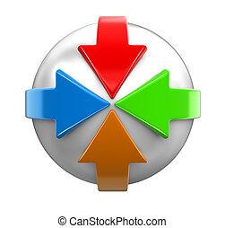ritaglio, intorno, immagine, percorso, sphere., frecce
