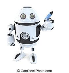 ritaglio, isolated., contiene, robot, scrittura, pen., percorso