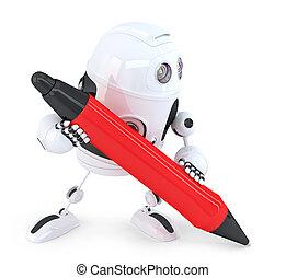 ritaglio, isolated., contiene, robot, scrittura, pen., percorso, rosso