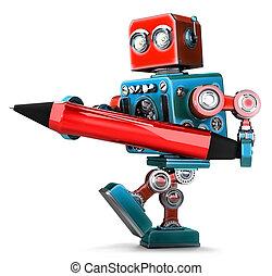 ritaglio, isolated., vendemmia, contiene, robot, scrittura, pen., percorso, rosso