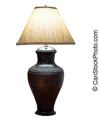 ritaglio, isolato, lampada, tavola, percorso, bianco