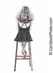 ritaglio, nero, path., rosa, bello, seduta, ritratto, bianco, sopra, slippers., ballerina