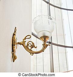 ritaglio, parete, vendemmia, isolato, lampada, percorso, bianco
