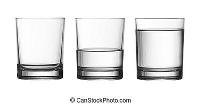 ritaglio, pieno, isolato, vetro acqua, basso, mezzo, included, percorso, bianco, vuoto