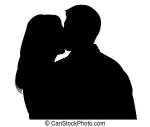 ritaglio, silhouette, baciare coppie, percorso, witn