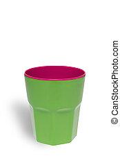ritaglio, tazza, isolato, plastica, luminoso, sfondo verde, percorso, bianco