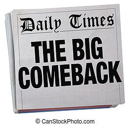 ritorno, riuscito, grande, illustrazione, titolo, giornale, ritorno, 3d
