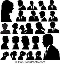 ritratti, persone, silhouette, semplice