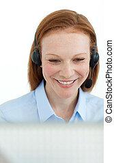 ritratto, affari, donna sorridente, computer