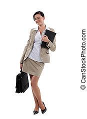 ritratto, attraente, donna d'affari