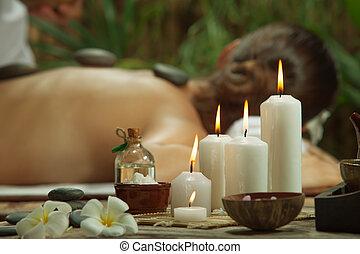 ritratto, candles., terme, messo fuoco, bella donna, environment., giovane