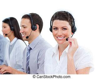 ritratto, centro, charmant, lavorativo, chiamata, agenti, assistenza clienti