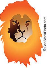 ritratto, colorare, leone