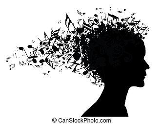 ritratto, donna, silhouette, musica