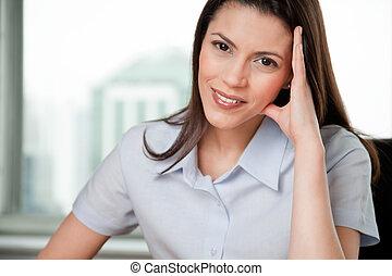 ritratto, donna sorridente, giovane, affari