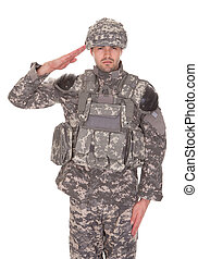 ritratto, fare il saluto militare, militare, uomo, uniforme