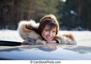 ritratto, lei, donna, automobile, felice